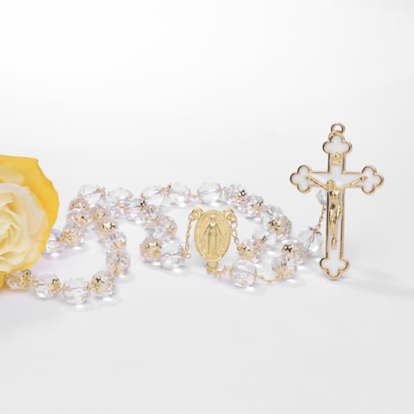 terço de noiva cristal dourado